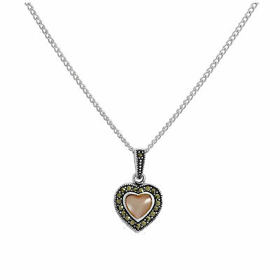 100% Wahr Sterling Silver & Pink Mother Of Pearl Heart Pendant W Marcasite 16 - 24 Inches