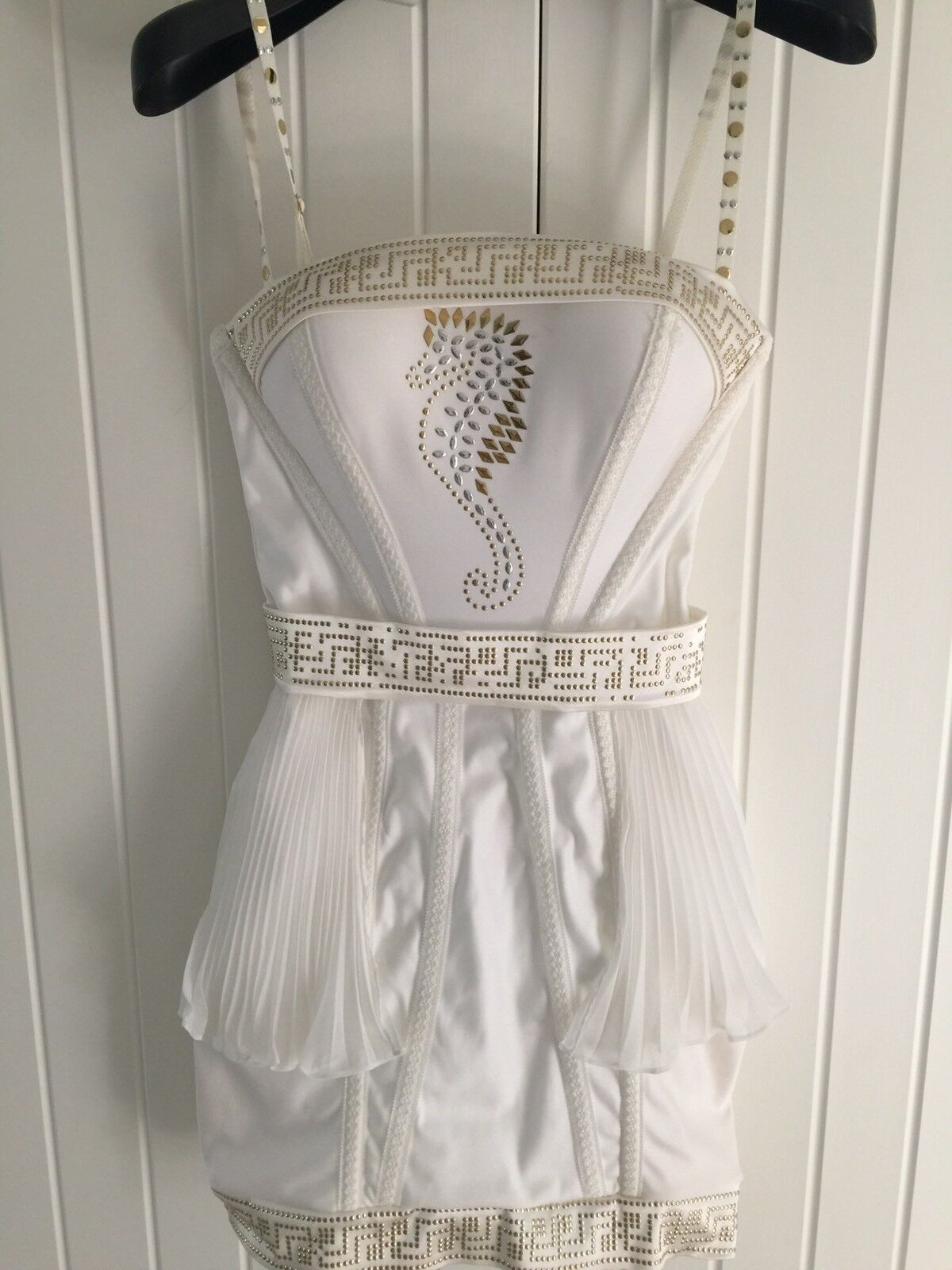 Catwalk Collection White And gold Mini Dress One Size Mother Of The Bride Races