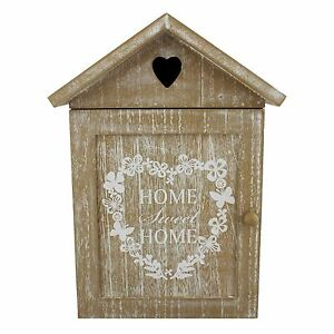 Shabby Chic Home Sweet Home House Shaped Key Box Cabinet with ...