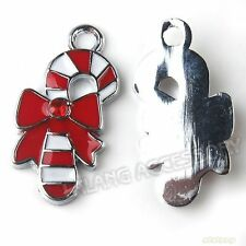 20x Charms Red&White Enemal Christmas Walkingstick Shape Pendant Fit Jewelry L