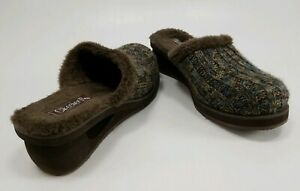 Skechers-Cali-Knit-Faux-Fur-Lined-Mules-Slides-Wedge-Heel-Size-10