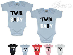 Image Is Loading TWIN A TWIN B FUNNY BABY GROWS BIRTHDAY