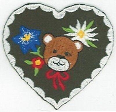 Green Bear Portrait Edelweiss Heart Embroidery Patch