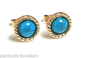 9ct-Gold-Turquoise-Button-Stud-Earrings-Gift-boxed-Studs-Made-in-UK
