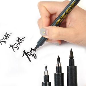 3x Chinese Calligraphy Brush Pen L M S Script Nib Draw Art Water ... 4d5dca77050b