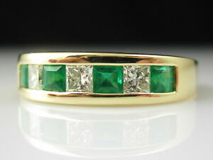 3-Ct-Emerald-Diamond-Band-18K-Yellow-Gold-Over-Wedding-Ring-Princess-Channel-Set
