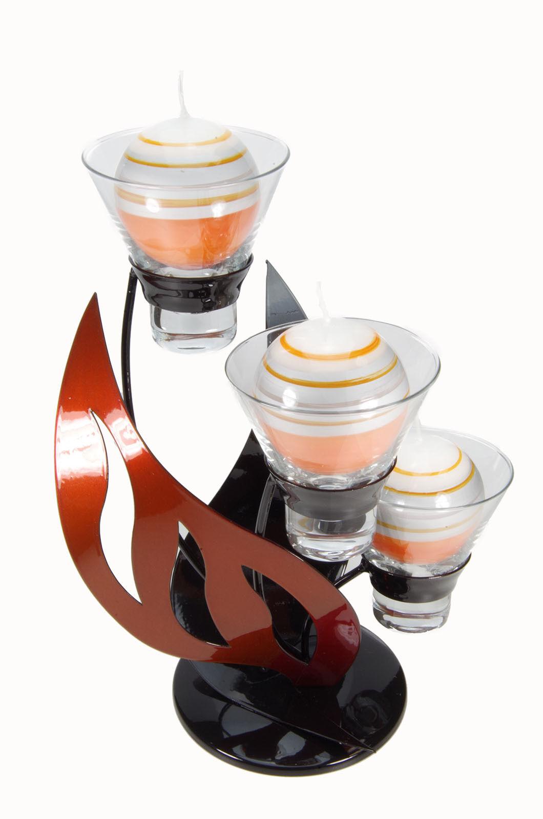 Kerzenständer Metall modern amber Orange schwarz inkl. 3 Kerzen 27,5 x 22 cm