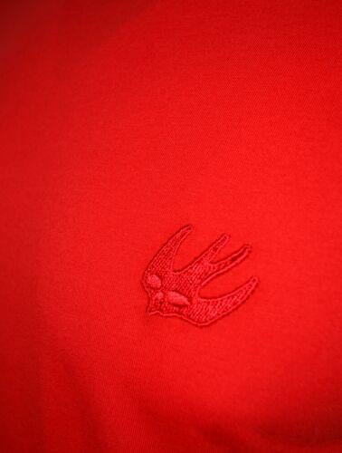 MCQ EMBROIDERED CHEST LOGO SWALLOW BIRD T-SHIRT RED ALEXANDER MCQUEEN