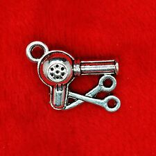 5 x Tibetan Silver Hair Dryer Scissors Stylist Charm Pendant Jewelry Making