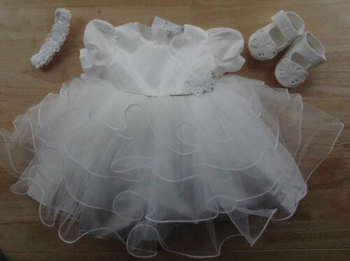 3 Pcs Baby Rhinestones Butterfly Ivory Christening Dress+Shoes+Headband 0-3-6m
