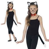Child Cat Costume Kit Ears Headband Tail Collar Tie Girls Child Kids Black Kitty