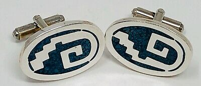 Vintage Turquoise Cufflinks Sterling Etruscan Mexico Taxco Groom cufflinks Artist Signed Jano anniversary gift southwestern jewelry