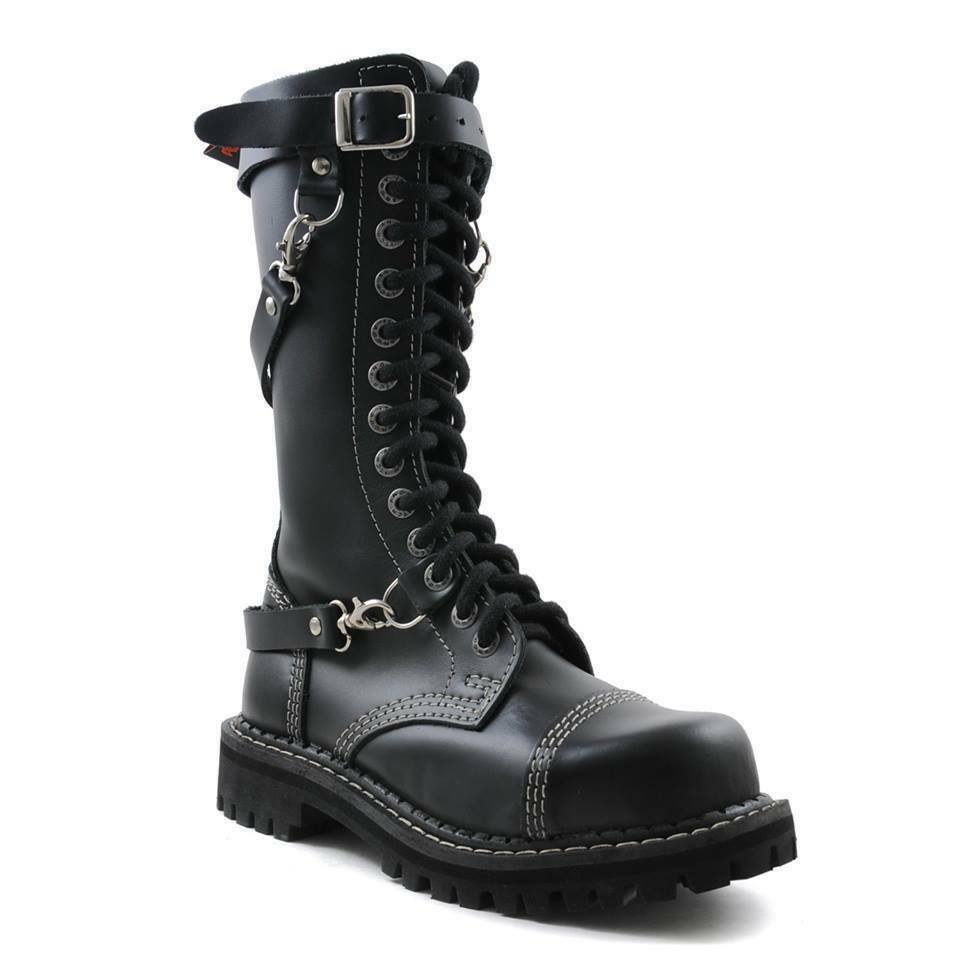 Angry Itch 14 Hole Gothic Punk schwarz Chain Leder Ranger Stiefel Steel Toe Zip