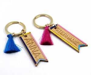 541de34ffb4cb9 Image is loading Personalized-Engrave-Custom-Name-Keychain-Tassel-Wooden- Handmade-