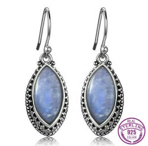 Boho-Vintage-925-Silver-Marquise-Natural-Rainbow-Moonstone-Dangle-Hook-Earrings