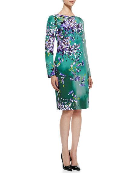Escada Hyacinth Long-Sleeve Floral Silk Sheath Dress