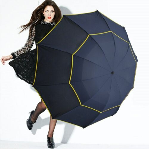 Double Layer Strong Umbrella Foldings Rain 130cm Windproof Outdoors Three Colors