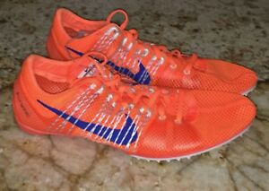 03155538cc3568 NIKE Zoom Victory 2 Orange Royal Blue Mid Distance Track Spikes ...