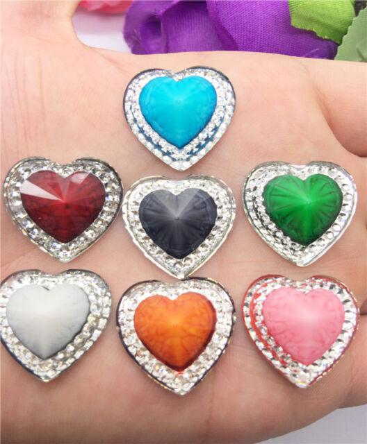 NEW DIY 6PCS 20mm Resin Heart flatback Scrapbooking for phone/wedding,Craft PICK