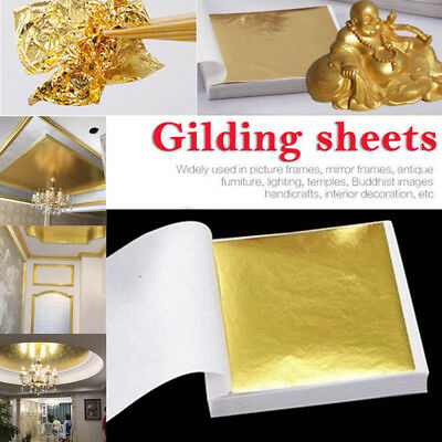 100Pcs Gold//Silver//Copper Foil Leaf Paper Food Cake Decor Edible Gilding Craft T