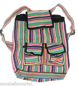 SIESTA-fair-TRADE-ethnic-HIPPY-boho-FESTIVAL-striped-COTTON-rucksack-BAG-BNWOT