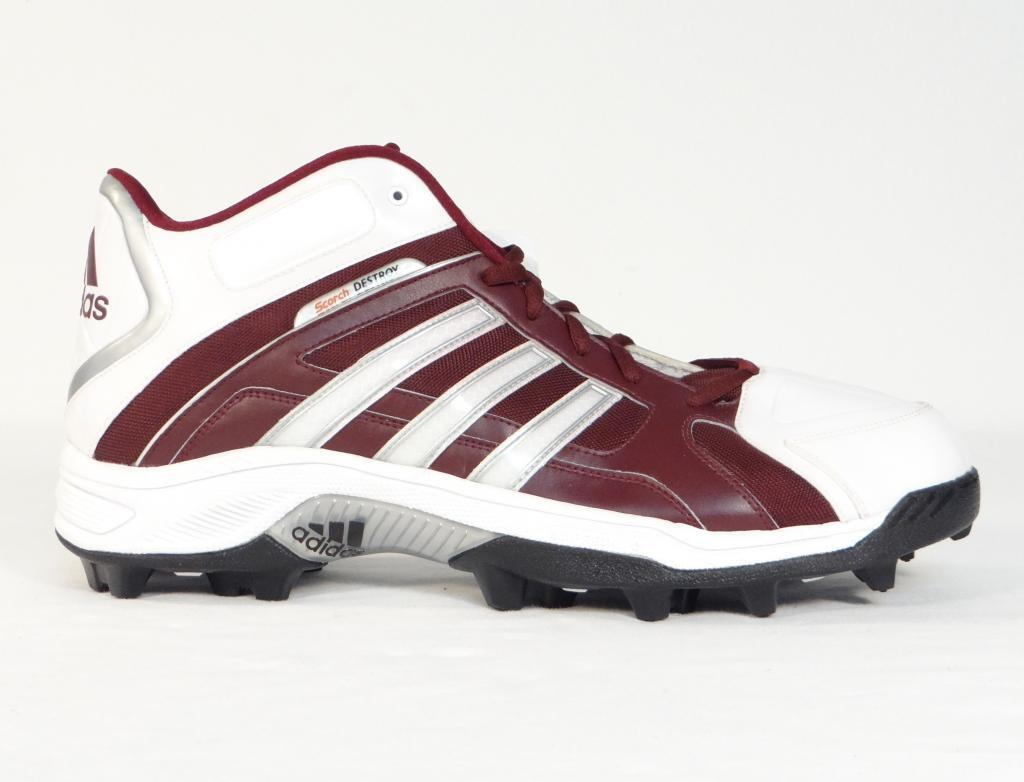 Adidas Scorch Destroy Mid Football Cleats Maroon & White Mens NWT Cheap and beautiful fashion