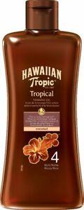Hawaiana-Tropical-Olio-Abbronzante-Al-Cocco-4-ricco-200ML-confezione-di-vendita-al-dettaglio-Nuovo