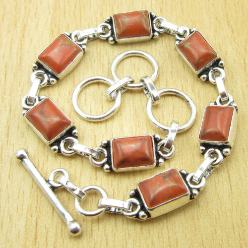 925 Silver Plated ORANGE COPPER TURQUOISE /& Other Gems Bracelet Many Choices