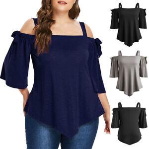 a940b736df16 Women's Casual Plus Size Asymmetric Cold Shoulder Top T-shirt Bow ...