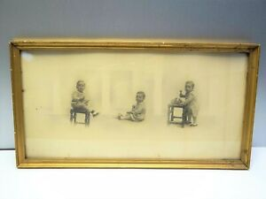 Original-Wood-Framed-Wall-Hanging-Ernest-W-Appleby-Composition-Baby-Photographs