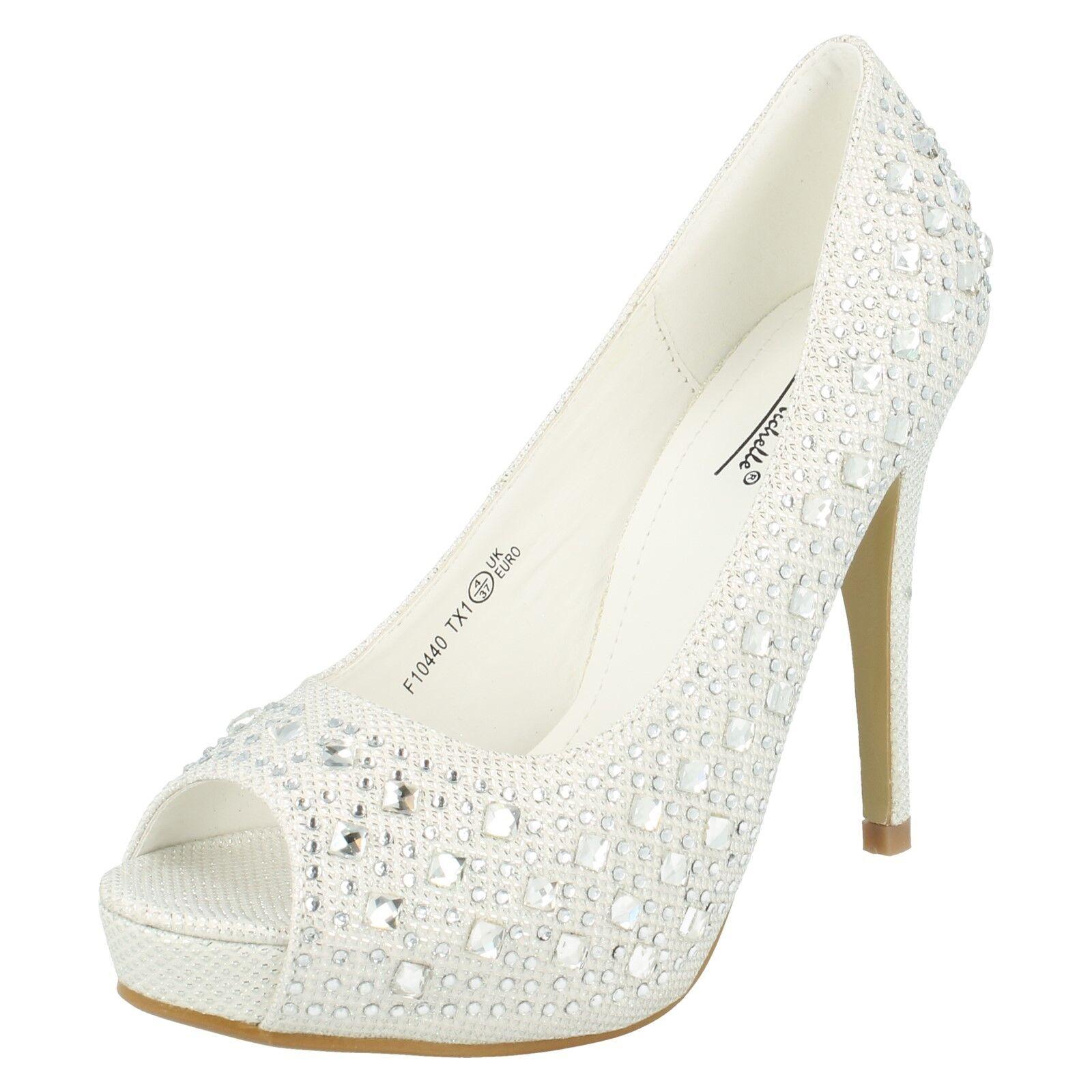LADIES ANNE MICHELLE PEEP TOE HIGH HEEL WHITE GLITTER COURT SHOES F10440