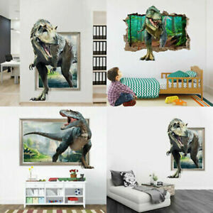 3D Dinosaur Wall Decals Jurassic World Animal Kids Boys ...