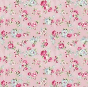 Cottage-Shabby-Chic-RURU-Bouquet-Rose-in-Paris-Small-Roses-RU2370-15C-Pink-BTY