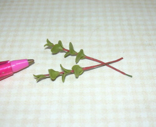 DOLLHOUSE Miniatures 1:12 Scale 2 Miniature SMALL Green Leaves on RED Stems
