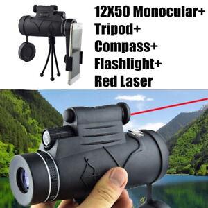 12X50-HD-Monoculars-Flashlight-infrared-Night-Vision-Telescope-Laser-Compass-US