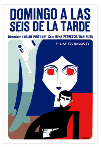 "Movie Poster for Romanian film/""SUNDAY at 6 PM/""Cartoon Noir.Interior Art Decor"