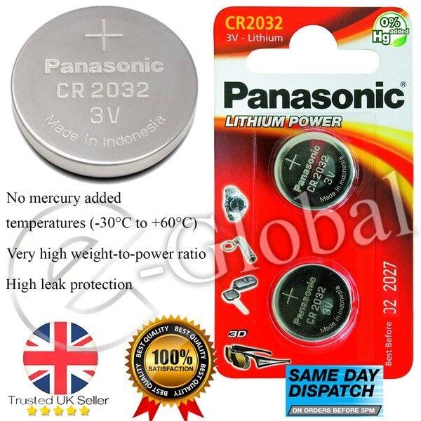 Panasonic 2 Pcs CR2032 3V Lithium Coin Cell Multipurpose Battery 2027 Expiry UK