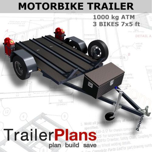 Trailer Plans - MOTORBIKE TRAILER - 3 Bike Design 7x5ft - PRINTED HARDCOPY