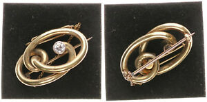 Brooch-Gold-585-with-Diamonds-0-4K-4-4g-Approx-3-5cm-Large