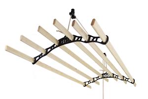 Tendedero de Techo con Sistema de Polea y 6 Listones de 1,5m en Negro