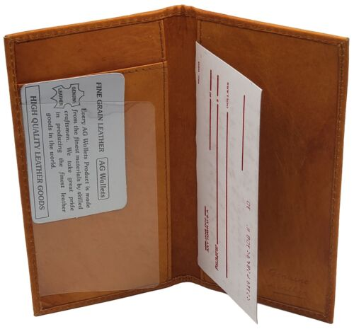Genuine Cowhide Leather Slim Plain Checkbook Cover Tan