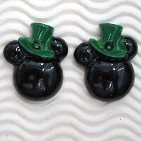 Wholesale- 20 Pcs X 1.25 Resin Mickey Flatback In Irish Hats St Patrick Sb581w