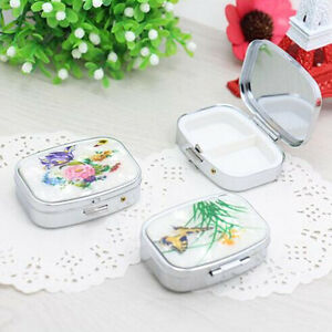 Top Women Jewelry Case Metal Fancy Folding Drug Pill Box Storage