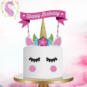 Image Is Loading 1 X UNICORN PARTY BIRTHDAY CAKE HORN TOPPER