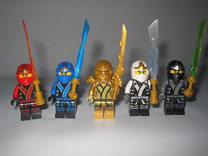 Lego ninjago gold lloyd kx kai kx jay kx zane kx cole gold ninja and swords ebay - Ninjago lloyd gold ...