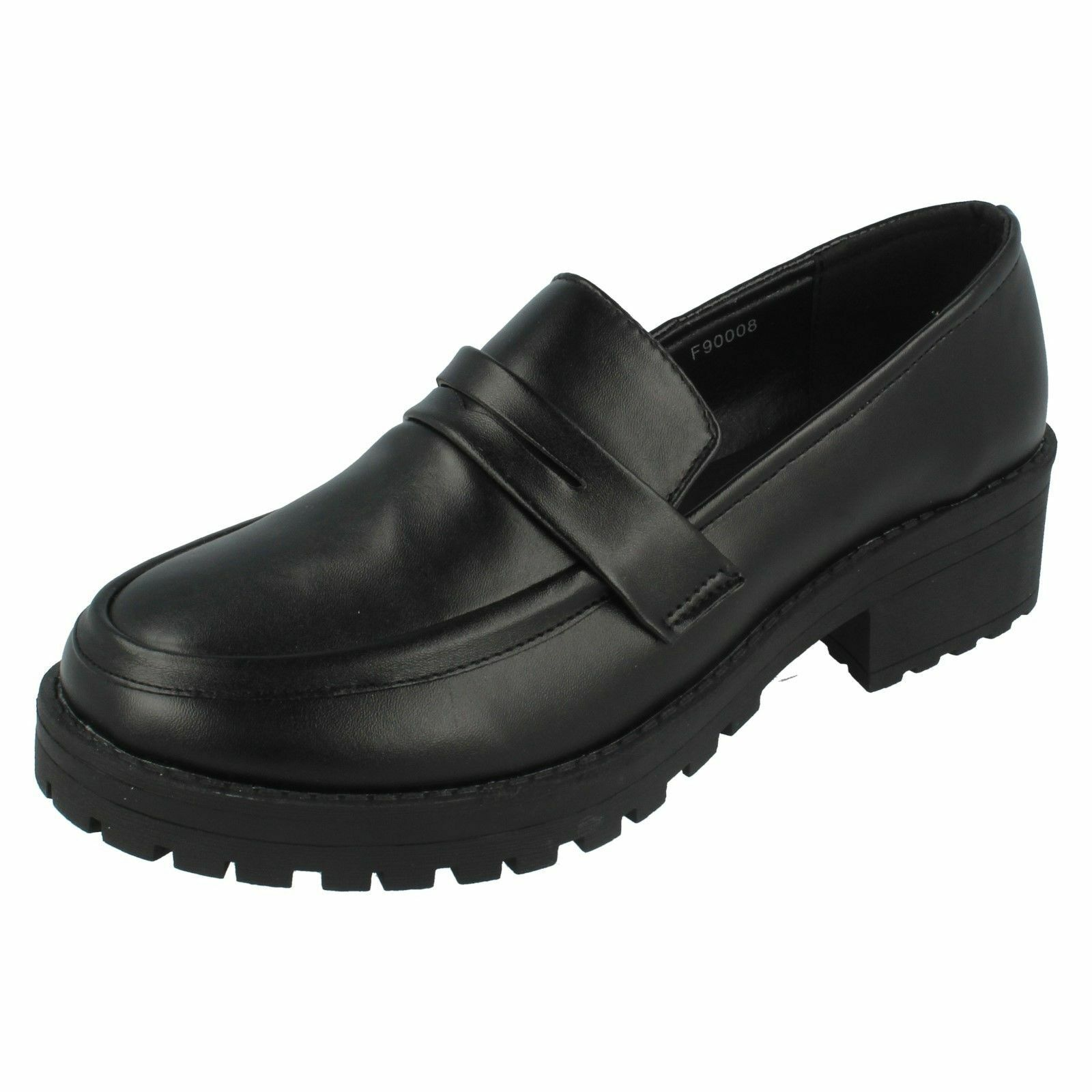 Ladies Black Spot On Slip On Shoes F90008