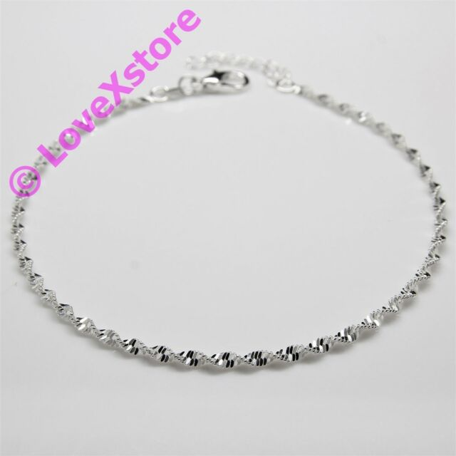 925 Sterling .925 Silver Plated Fancy Twisting Chain Anklet Charm Anklets pc