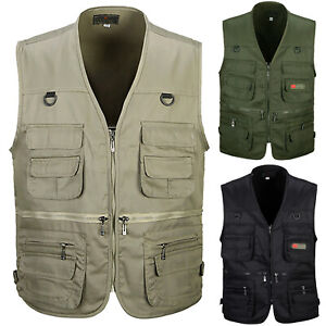 Men-Multi-Pocket-Outdoor-Vest-Fishing-Hiking-Photography-Waistcoat-Jacket-Coat