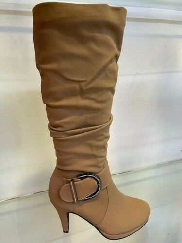 Women/'s Ladies Fashion Knee High Heeled Boots With Diamante Buckle