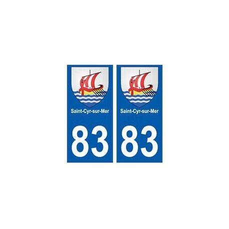 83 Saint-Cyr-sur-Mer autocollant plaque immatriculation ville -  Angles : droits